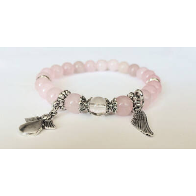 Rózsakvarc karkötő angyal medálokkal